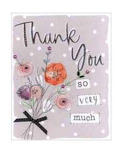 grote bedankkaart A4 - thank you so very much - bloemen