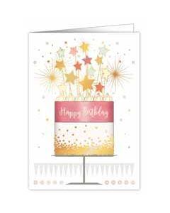 wenskaart A4 - happy birthday - taart met sterren