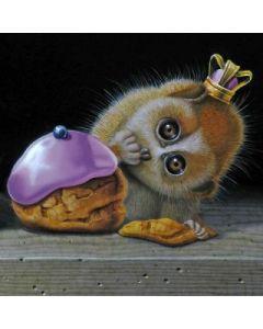 vierkante ansichtkaart gwenaëlle trolez - aap met kroon bij gebakje