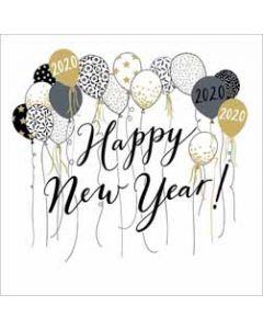 luxe nieuwjaarskaart woodmansterne - 2020 happy new year! - ballonnen