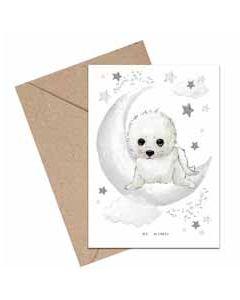 wenskaart mouse & pen - be kind - zeehond