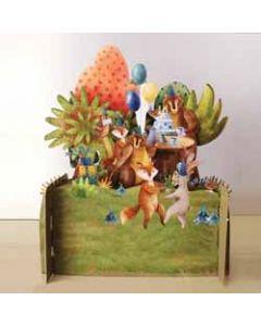 3d pop up kinderkaart - dieren vieren feest