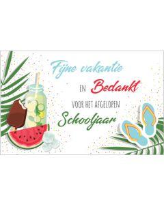 wenskaart - fijne vakantie en bedankt voor het afgelopen schooljaar
