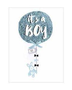 wenskaart - it's a boy - ballon