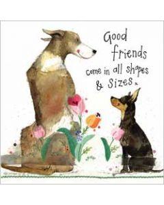 wenskaart alex clark - good friends - honden