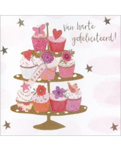 wenskaart gold leaf - van harte gefeliciteerd - cupcakes