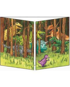 uitklapbare wenskaart cache-cache - dino's bij bomen