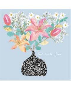 wenskaart woodmansterne - get well soon - bloemen