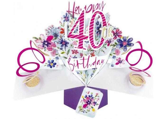 Verbazingwekkend 40 jaar - 3D verjaardagskaart - pop ups - happy 40th birthday MN-86