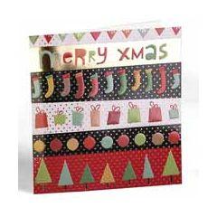 luxe kerstkaart - merry xmas - sokken - cadeautjes - bomen