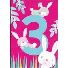 3 jaar - verjaardagskaart - konijnen