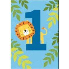 1 jaar - verjaardagskaart - leeuw