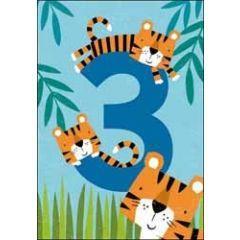 3 jaar - verjaardagskaart - tijgers