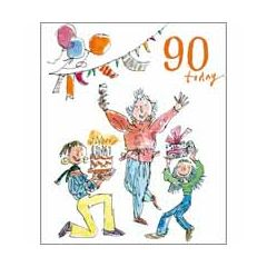 90 jaar - grote verjaardagskaart quentin blake - 90 today - taart cadeau