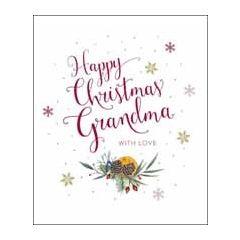 grote kerstkaart woodmansterne - happy christmas grandma with love