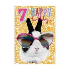 7 jaar - verjaardagskaart woodmansterne - happy birthday - konijn met bril