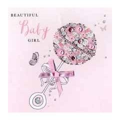 luxe geboortekaart - beautiful baby girl - rammelaar