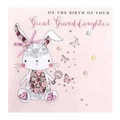 luxe geboortekaart achterkleindochter - on the birth of your great granddaughter - konijn