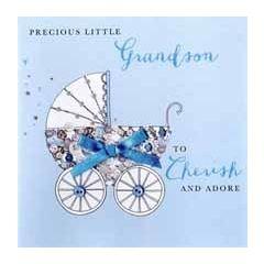 luxe geboortekaart kleinzoon - precious little grandson to cherish and adore