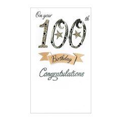 grote luxe verjaardagskaart - 100 jaar -On your 100th Birthday congratulations