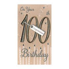 grote luxe verjaardagskaart - 100 jaar -On your 100th Birthday