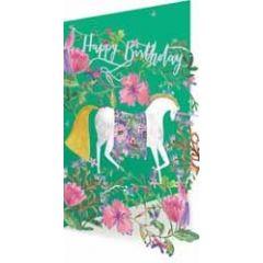 laser gesneden verjaardagskaart roger la borde - happy birthday - eenhoorn