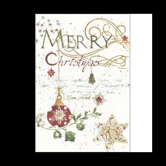 luxe kerstkaart - merry christmas- kerstbal en ster