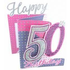 50 jaar -3d verjaardagskaart cutting edge - happy 50th birthday - roze