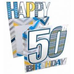 50 jaar -3d verjaardagskaart cutting edge - happy 50th birthday - blauw