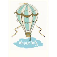 wenskaart mouse & pen - dream big - luchtballon