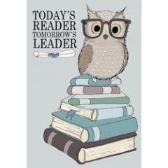wenskaart mouse & pen - todays reader tomorrows leader - uil op boeken