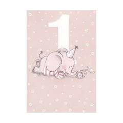 1 jaar - verjaardagskaart - olifantje roze