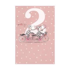 2 jaar - verjaardagskaart -  twee zebra s roze