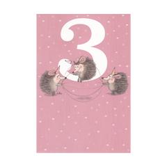 3 jaar - verjaardagskaart -  drie egels roze