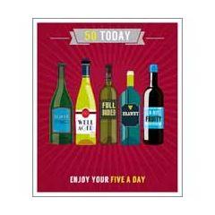 50 jaar - grote verjaardagskaart - 50 today - enjoy your five a day