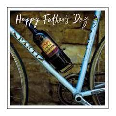 vaderdagkaart woodmansterne - happy father's day - fiets en wijn
