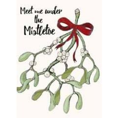 kerstkaart mouse & pen - meet me under the mistletoe