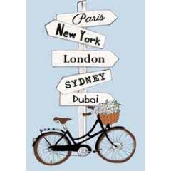 wenskaart mouse & pen - wegwijzer paris new york london sydney dubai