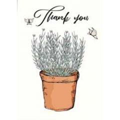 wenskaart mouse & pen - thank you - lavendel