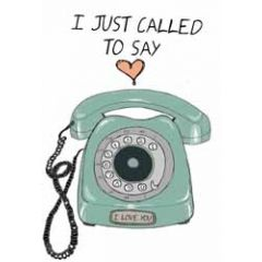 wenskaart mouse & pen - i just called to say  i love you - retro telefoon
