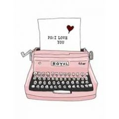 wenskaart mouse & pen - ps i love you - typemachine