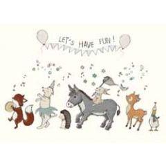 wenskaart mouse & pen - let us have fun! - optocht van dieren