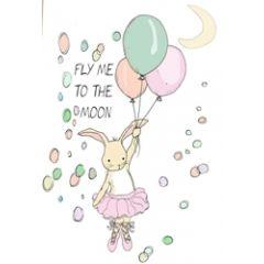 wenskaart mouse & pen - fly me to the moon - konijntje roze