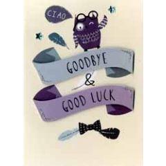 afscheidskaart - goodbye good luck - uiltje