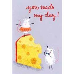 wenskaart hello you - you made my day! - muizen met kaas