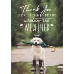 wenskaart woodmansterne - thank you for being there whatever the weather