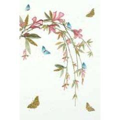 wenskaart - takken met bloemen roze