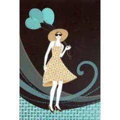 wenskaart - vrouw met ballonnen