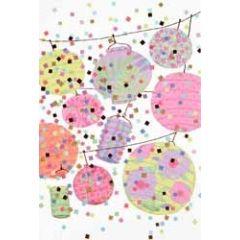 felicitatiekaart - lampions en confetti