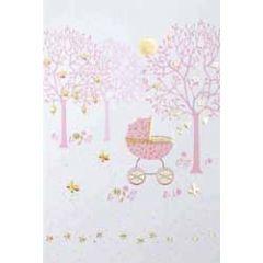 geboortekaartje - kinderwagen roze
